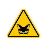 Attention cat. Danger yellow road sign. Pet Caution Stock Photos