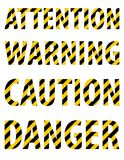 Attention caution danger warning text from striped letters in the form of a protective yellow-black tape.  White background. Vecto Stock Images