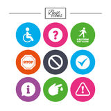 Attention caution icons. Information signs. Royalty Free Stock Photos