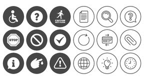 Attention caution icons. Information signs. Stock Photos