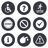 Attention caution icons. Information signs Royalty Free Stock Photo