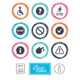 Attention caution icons. Information signs. Royalty Free Stock Photography