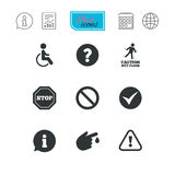 Attention caution icons. Information signs. Attention caution icons. Question mark and information signs. Injury and disabled person symbols. Report document Royalty Free Stock Photos