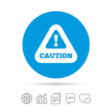 Attention caution sign icon. Exclamation mark. Hazard warning symbol. Copy files, chat speech bubble and chart web icons. Vector Stock Photography