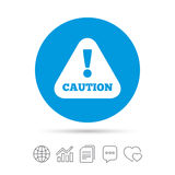 Attention caution sign icon. Exclamation mark. Hazard warning symbol. Copy files, chat speech bubble and chart web icons. Vector Royalty Free Stock Photo
