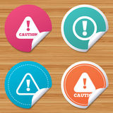 Attention caution signs. Hazard warning icons. Royalty Free Stock Image