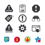 Attention caution signs. Hazard warning icons. Stock Photos