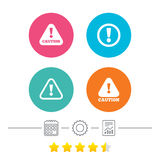 Attention caution signs. Hazard warning icons. Attention caution icons. Hazard warning symbols. Exclamation sign. Calendar, cogwheel and report linear icons Royalty Free Stock Photos