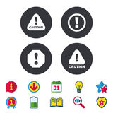 Attention caution signs. Hazard warning icons. Stock Images