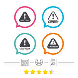 Attention caution signs. Hazard warning icons. Attention caution icons. Hazard warning symbols. Exclamation sign. Calendar, internet globe and report linear Royalty Free Stock Images