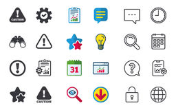 Attention caution signs. Hazard warning icons. Royalty Free Stock Photo