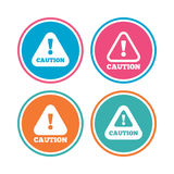 Attention caution signs. Hazard warning icons. Stock Image