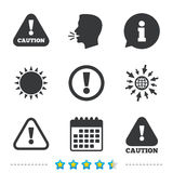 Attention caution signs. Hazard warning icons. Royalty Free Stock Images