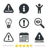 Attention caution signs. Hazard warning icons. Royalty Free Stock Photos