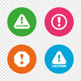 Attention caution signs. Hazard warning icons. Stock Photography