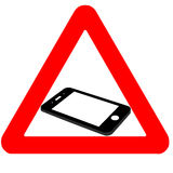 Attention cell phone sign, flat cell phone Royalty Free Stock Image