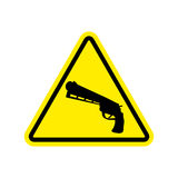 Attention crime. Gun in yellow triangle. Road sign Caution Weapo Royalty Free Stock Image