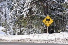 Attention d'avertissement de tempête de l'hiver pilotant le signe images libres de droits