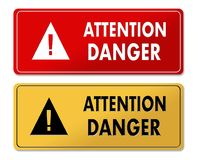 Attention Danger warning panels in French translation Stock Images