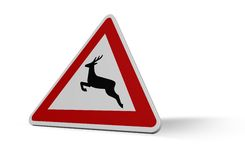 Attention deer crossing Stock Photos
