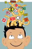 Attention Deficit Hyperactivity Disorder. Tangled roads with confusing traffic signs coming out of a boy's head as a metaphor for attention deficit disorder stock illustration