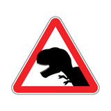 Attention dinosaur. Dangers of red road sign. Prehistoric predat Stock Photography