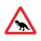Attention dinosaur. Dangers of red road sign. Royalty Free Stock Image