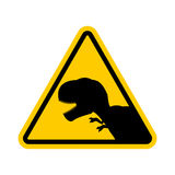Attention dinosaur. Dangers of yellow road sign. Prehistoric pre Royalty Free Stock Photo