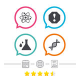 Attention and DNA icons. Chemistry flask. Attention and DNA icons. Chemistry flask sign. Atom symbol. Calendar, internet globe and report linear icons. Star Royalty Free Stock Photography