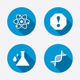 Attention and DNA icons. Chemistry flask Stock Photo
