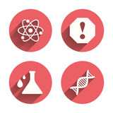 Attention and DNA icons. Chemistry flask Royalty Free Stock Images