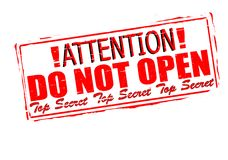 Attention do not open. Rubber stamp with text attention do not open inside,  illustration Stock Photography