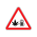 Attention Drugs and alcohol. Dangers red road sign. beer and mar Royalty Free Stock Image
