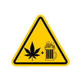 Attention Drugs and alcohol. Dangers yellow road sign. beer and Stock Photography
