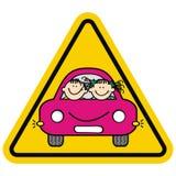 Attention, enfants sur la voiture Cadre jaune de triangle illustration de vecteur