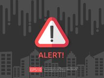 Attention exclamation warning alert mark symbol sign with cloud and building background. internet security business Concept. Design  illustration Royalty Free Stock Photo