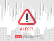 Attention exclamation warning alert mark symbol sign with cloud and building background. internet security business Concept vector. Attention exclamation warning Royalty Free Stock Image