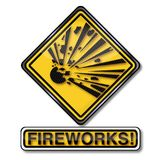 Attention explosive fireworks and new year`s eve celebration. Danger sign attention explosive fireworks and new year`s eve celebration Royalty Free Stock Photos