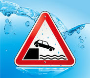 Attention fall. Caution water crash Royalty Free Stock Photos