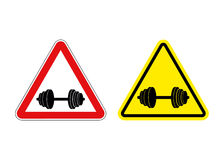 Attention fitness. Warning sign sport. Red and yellow road signs. With barbell Stock Photos