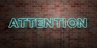 ATTENTION - fluorescent Neon tube Sign on brickwork - Front view - 3D rendered royalty free stock picture Royalty Free Stock Photos