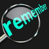 Attention focus Remember. Magnifying glass focusing on the text remember Royalty Free Stock Image