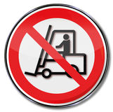 Attention for forklift trucks Stock Photos