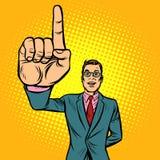 Attention gesture man. index finger up. Pop art retro illustration vintage kitsch drawing royalty free illustration