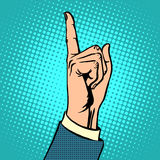 Attention gesture thumbs up. Business concept boss the pointer pop art retro style Royalty Free Stock Photography