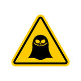 Attention ghost. Dangers of yellow road sign. spook Caution Stock Photos