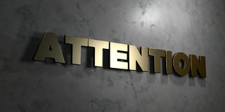 Attention - Gold sign mounted on glossy marble wall  - 3D rendered royalty free stock illustration Stock Photos