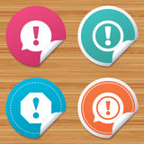 Attention icons. Exclamation speech bubble. Stock Photography