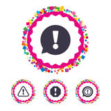 Attention icons. Exclamation speech bubble. Stock Image