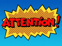 Attention inscription comic book style Stock Photos